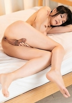 Yoko's penis is getting so hard and big just by being fucked the ass, she even cums!